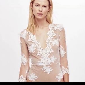 For Love & Lemons Scallop Edge Bodysuit, NWOT